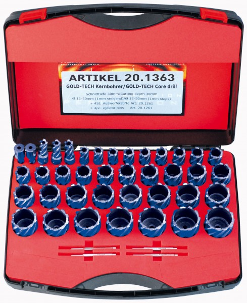 Kernbohrer HSS-XE Durablue DELUXE-Set, Schnitttiefe 55 mm, Weldon 19